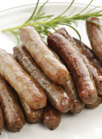 Fried Breakfast Sausage Links,Close Up Stock Photo