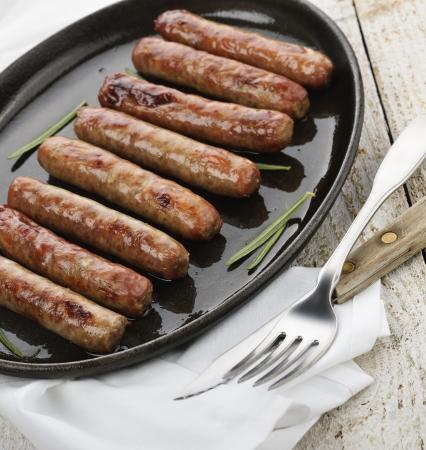 chorizos asados: Fritos desayuno Salchichas En Un Pan
