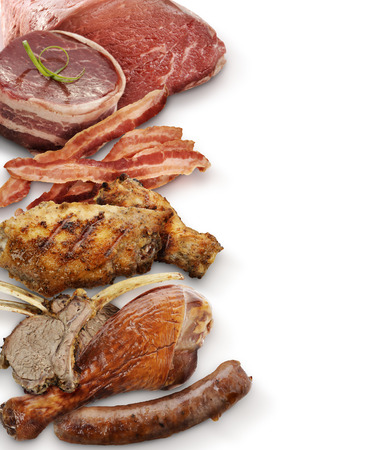 Meat Assortment  On White Background photo
