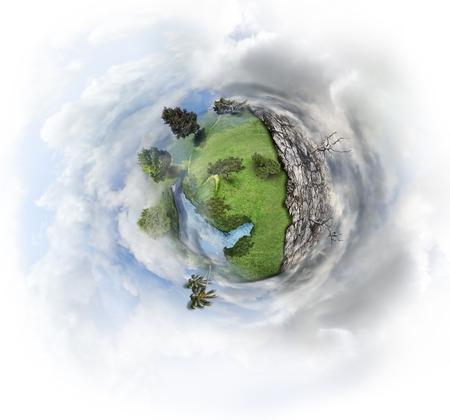 Nature Concept With Miniature Earth Stock Photo