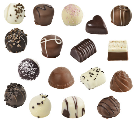 chocolate truffle: Chocolate Candies Isolated On White Background Stock Photo