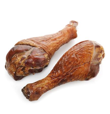 Smoked Turkey  Legs  On White Background 写真素材