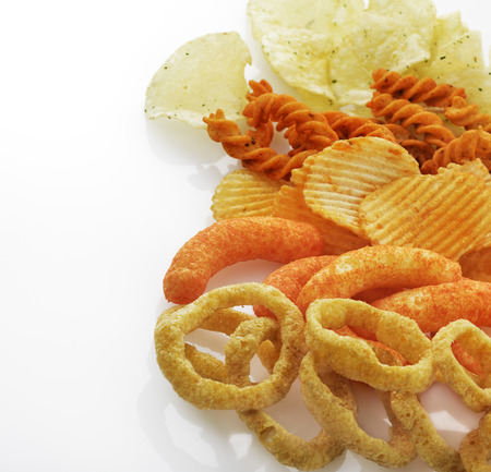 Onion Rings,Chips,Cheese Sticks For Snack Stock Photo