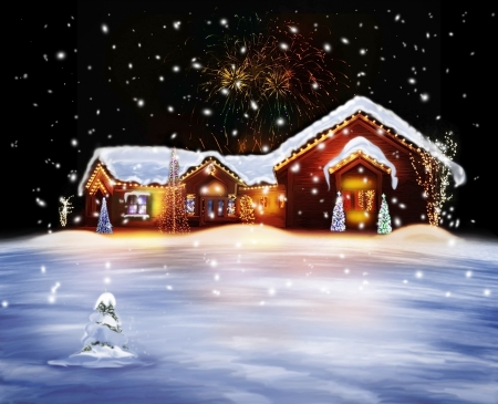 Christmas Decorated House With Lights And Firework  Stock Photo