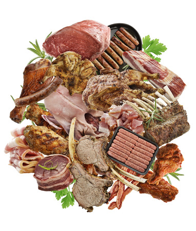 Assortment Of Meat Products  On White Background