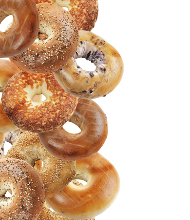 Assortment Of Bagels Isolated On White