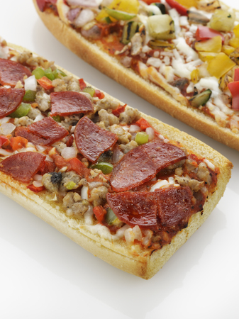 french bread: French Bread Pizza With Grilled Vegetables And Pepperoni Stock Photo