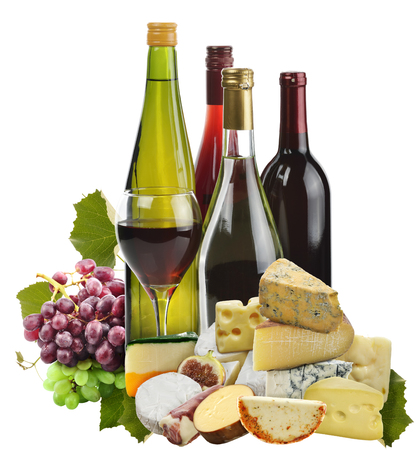 white wine: Wine ,Grape And Cheese Isolated On White Stock Photo