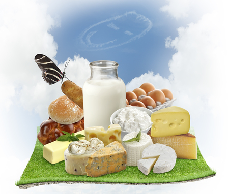 Dairy Products And Eggs On Green Grass