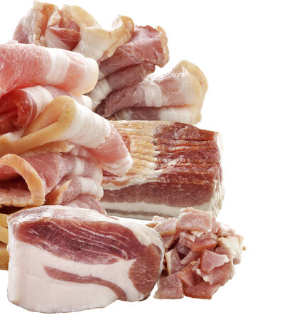 Pork And Bacon Isolated On White Background