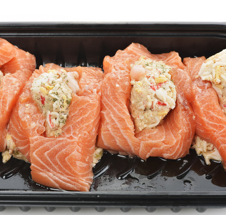 pink salmon: Raw Stuffed Salmon In A Cooking Tray  Stock Photo