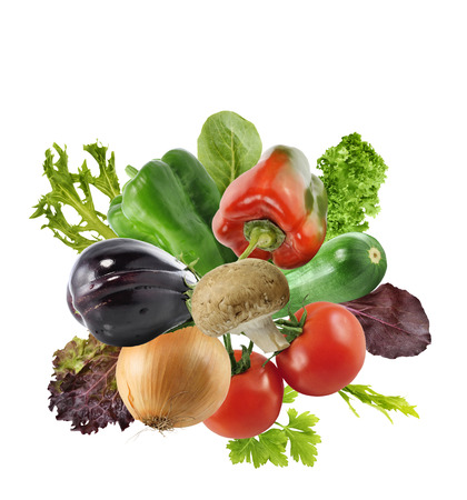 Fresh Vegetables And Salad Leaves Isolated On White Background