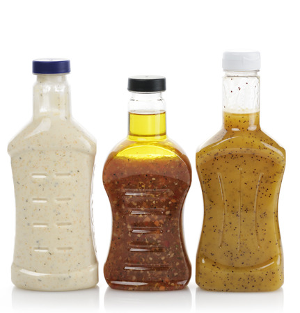 Assortment Of Salad Dressing Bottles  Banque d'images