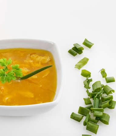 Egg Drop Soup With Green Onion Stock fotó