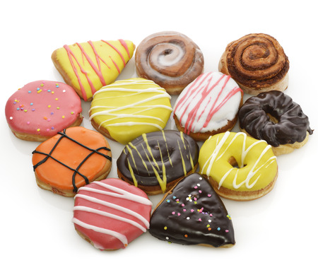Collection Of  Colorful Donuts On White Background photo