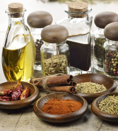 cooking oil: Assortment Of Spices Cooking Oil And Vinegar