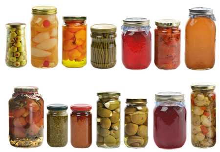 Preserved Food Collection Isolated On White Background Stock Photo