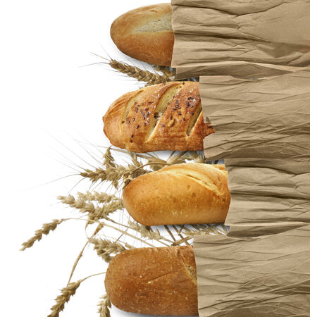 Loaves Of Bread On White Background Stock fotó