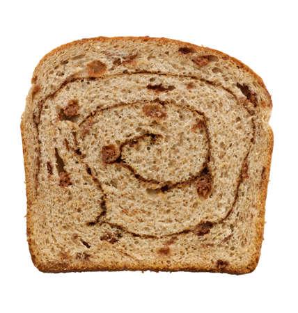 cinnamon swirl: Cinnamon Swirl Raisin Bread Slice Isolated On White Background