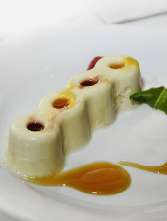 Vanilla Pudding With Fruit Syrup