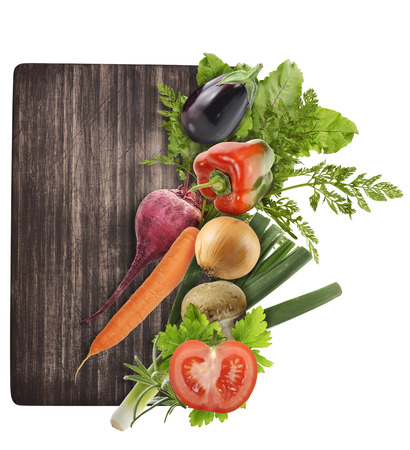 cutting vegetables: Cutting Board And Vegetables Isolated On White Background Stock Photo