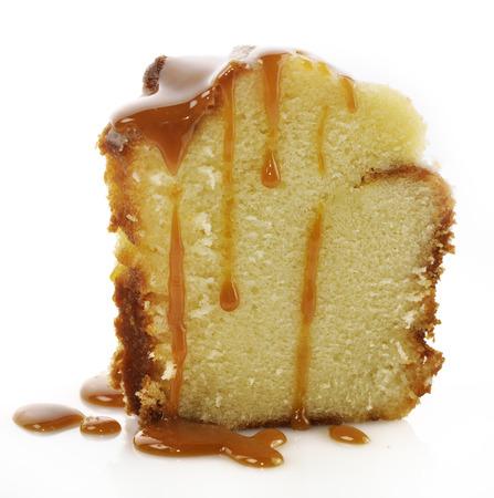 Slice Of Sour Cream Cake With Caramel Sauce