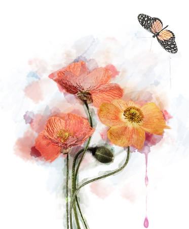 Watercolor Red Poppy Flowers Image.Digital Painting