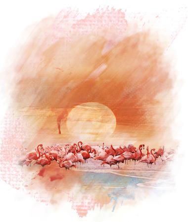 Watercolor Digital Painting Of  Flamingos At Sunset