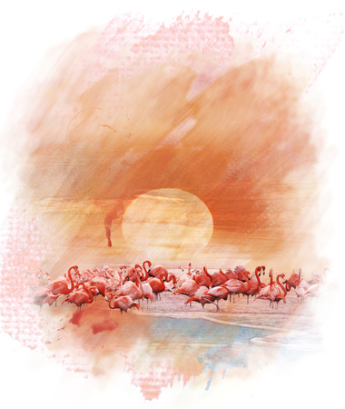 Watercolor Digital Painting Of  Flamingos At Sunset 版權商用圖片 - 29388598
