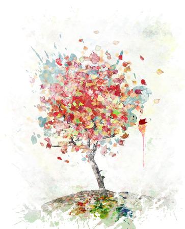 Waterverf Digitale Schilderij Van De Herfstboom