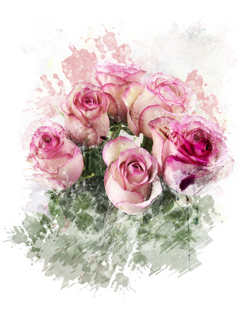 Watercolor Digital Painting Of  Pink Roses