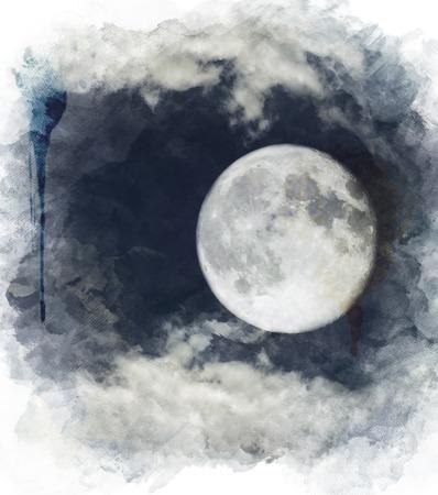 Waterverf het Digitale Schilderen van de volle maan Stockfoto