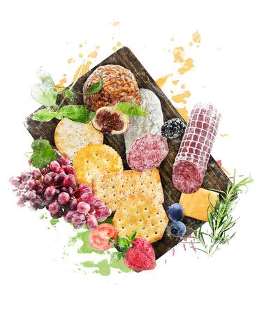 まな板の上の前菜のデジタル水彩画