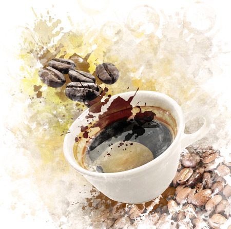 Watercolor Digital Painting Of Morning Coffee Cup Banque d'images
