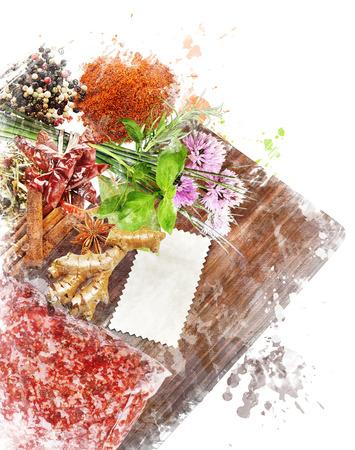 Watercolor Digital Painting Of Cooking Ingredients