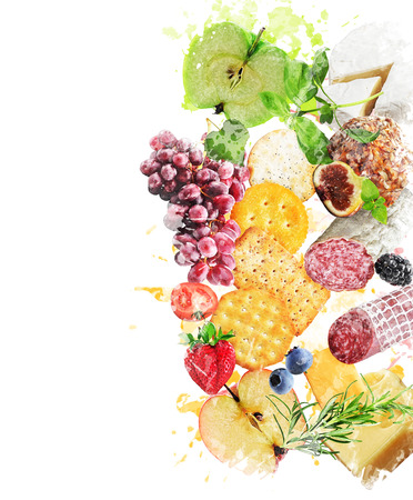 Watercolor Digital Painting Of Healthy Snacks Stock Photo