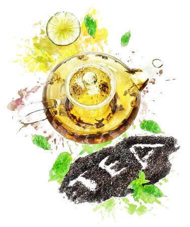 Watercolor Digital Painting Of  Tea Pot Reklamní fotografie - 31732770