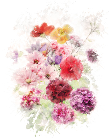 Watercolor Digital Painting Of Flowers Stock Photo