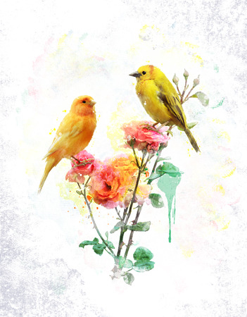watercolour: Watercolor Digital Painting Of Flowers And Yellow Birds Stock Photo