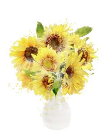 Watercolor Digital Painting Of Sunflowers Bouquet In Vase photo