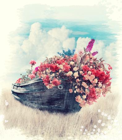 꽃과 오래 된 보트의 디지털 페인팅 스톡 콘텐츠
