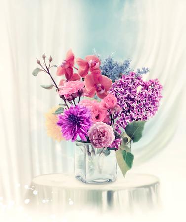 Digital Painting Of Flowers In Vase photo
