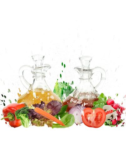 Het digitale schilderen van Ingrediënten van de Salade Stockfoto