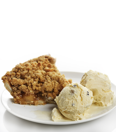 cream pie: Apple Pie And Vanilla Ice Cream Stock Photo