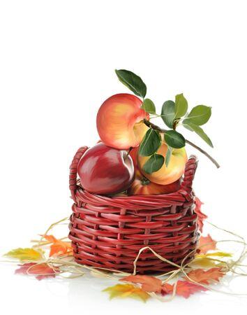 バスケットにリンゴのデジタル絵画