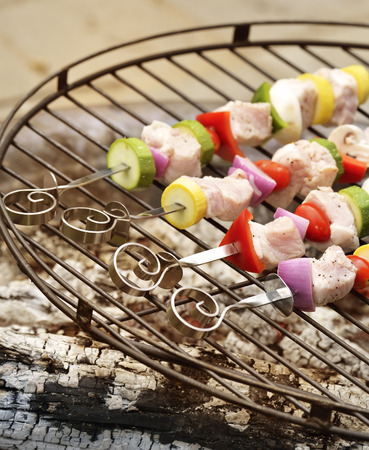 shishkabab: Ham Kabobs Cooking On The Grill