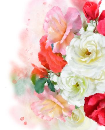 petal: Digital Painting Of Colorful Roses Stock Photo