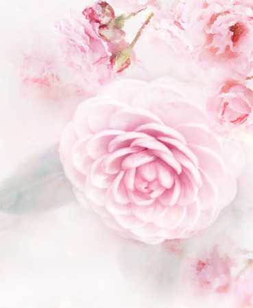 Digital Painting Of Pink Roses Stockfoto