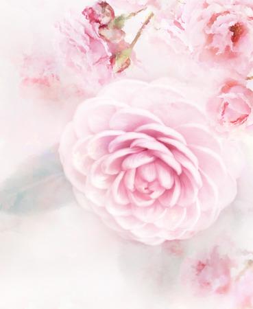 Digital Painting Of Pink Roses Archivio Fotografico