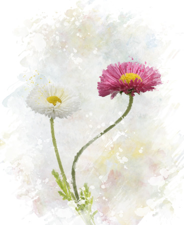 Digital Painting Of Spring Flowers Stock Photo